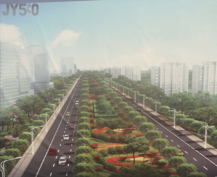 实拍江阴外滩 横跨锡澄运河的中央景观大道 林荫大道 施工现场高清图片