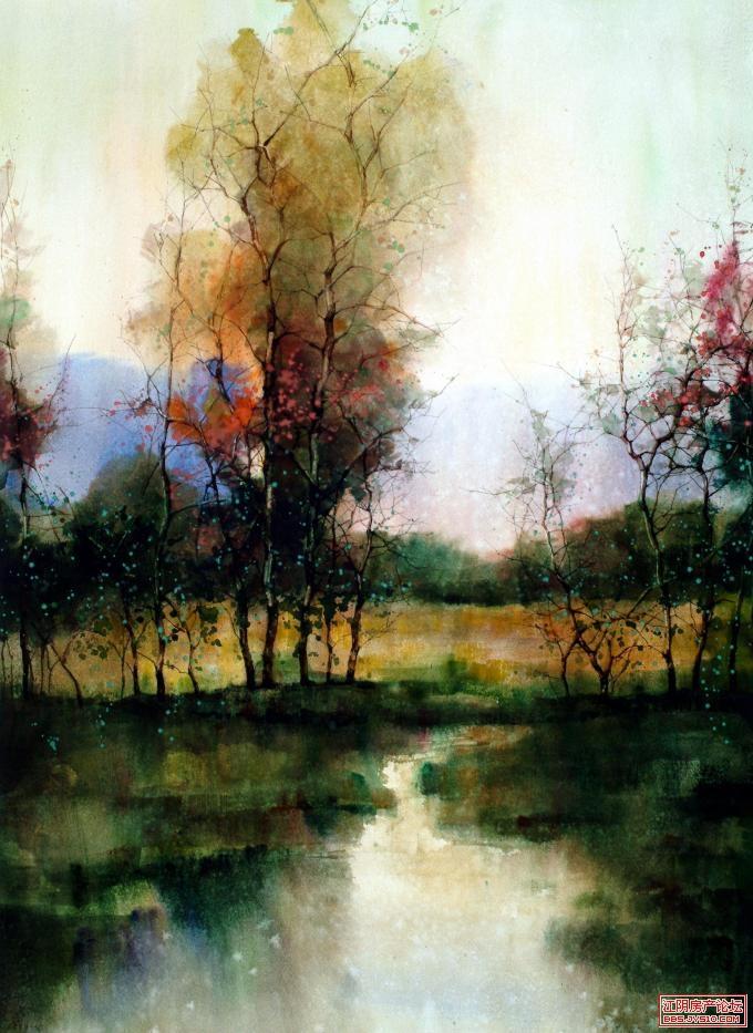 五彩的景 水彩画